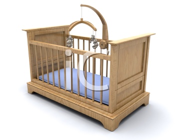 Royalty Free Clipart Image of a Baby Boy's Crib