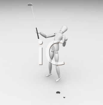 Royalty Free Clipart Image of a Golfer Missing His Putt
