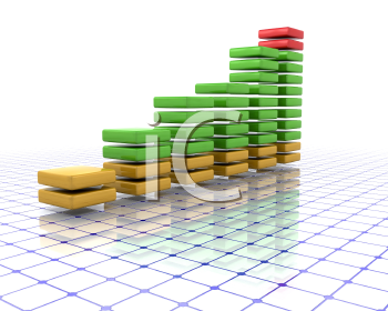 Royalty Free Clipart Image of a Coloured Graph