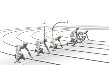 Royalty Free Clipart Image of a False Start at the Starting Line