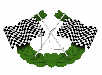 Royalty Free Clipart Image of Checkered Flags