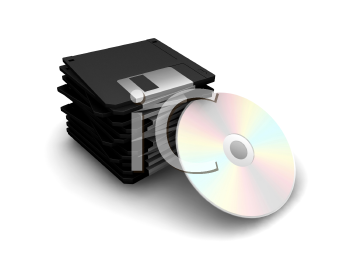 Royalty Free Clipart Image of a Stack of Floppy Disks and a CD