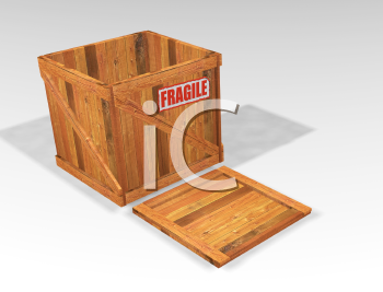 Royalty Free Clipart Image of an Open Crate With a Fragile Sticker