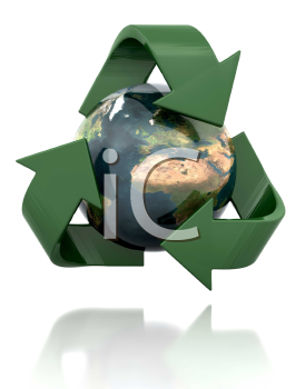 Royalty Free Clipart Image of a Globe With the Recycling Symbol Around It