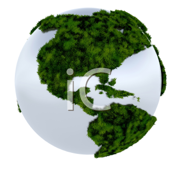 Royalty Free Clipart Image of the Earth With the Continents Covered in Grass