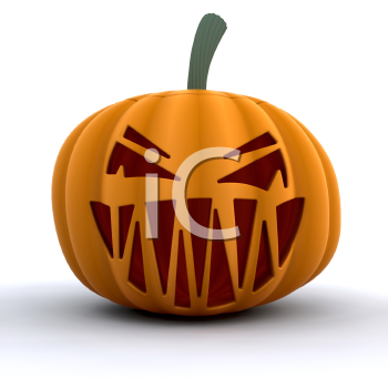 Royalty Free Clipart Image of a Scary Halloween Pumpkin