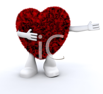 Royalty Free Clipart Image of a Furry Heart