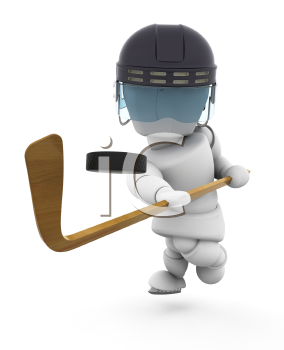 Royalty Free Clipart Image of a 3D Hockey Player Taking a Shot