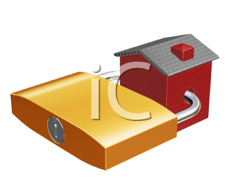 Royalty Free Clipart Image of a House With a Padlock