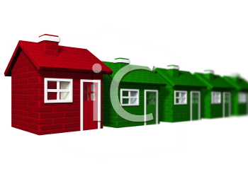 Royalty Free Clipart Image of a Red House Among Green