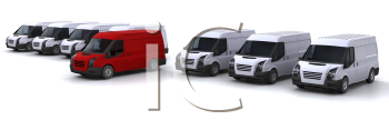 Royalty Free Clipart Image of a Fleet of Vans With One in the Centre
