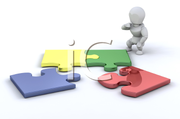 Royalty Free Clipart Image of a Person Connecting Puzzle Pieces