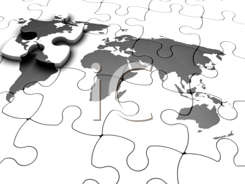 Royalty Free 3d Image of a Puzzle of a Map of the World