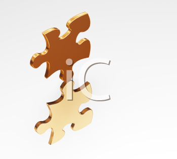 Royalty Free Clipart Image of Balancing Puzzle Pieces