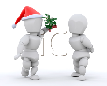 Royalty Free Clipart Image of a Couple and Mistletoe