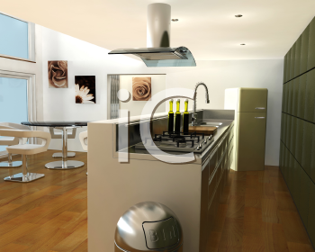 Royalty Free Clipart Image of a Contemporary Kitchen