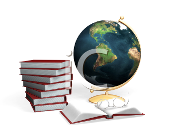 Royalty Free Clipart Image of Books, a Globe and Glasses