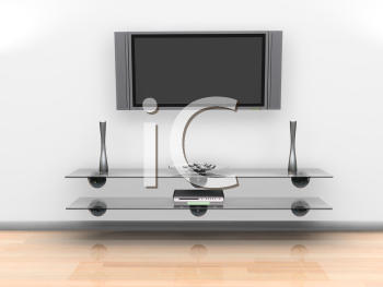 Royalty Free Clipart Image of a Wall Mounted Television