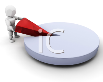 Royalty Free Clipart Image of a 3D Person Taking a Piece Out of Pie Chart