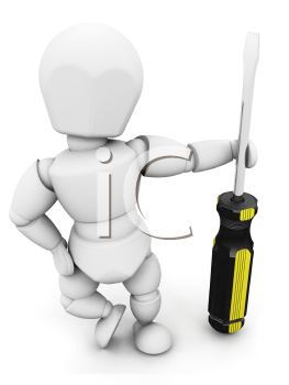 Royalty Free Clipart Image of a 3D Person Holding a Screwdriver