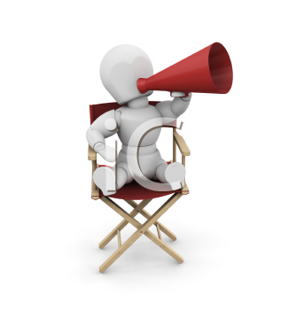 Royalty Free Clipart Image of a Person in a Director's Chair With a Megaphone