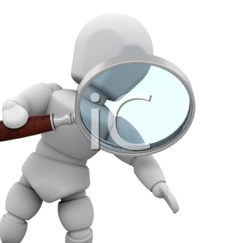 Royalty Free Clipart Image of a Guy Looking Through a Magnifying Glass
