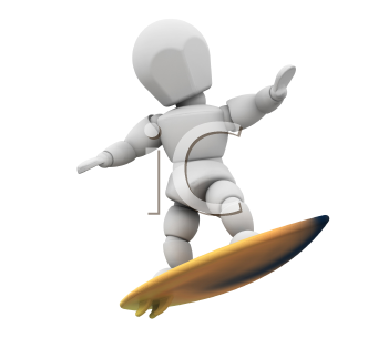 Royalty Free Clipart Image of a Guy on a Surfboard