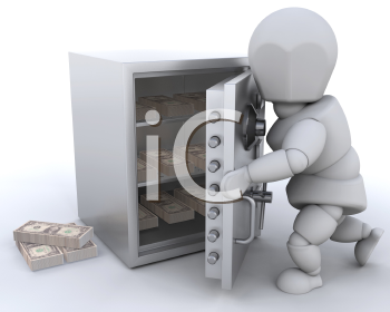 Royalty Free Clipart Image of a Person Putting Money in a Safe