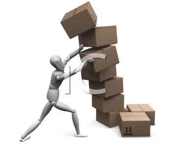 Royalty Free Clipart Image of a Man Holding Up a Pile of Falling Boxes