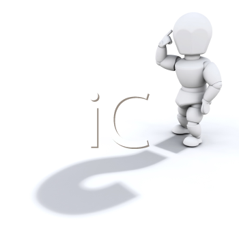 Royalty Free Clipart Image of a Person With a Question Mark Shadow