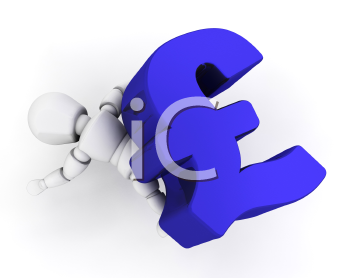 Royalty Free Clipart Image of a Guy on a Pound Symbol