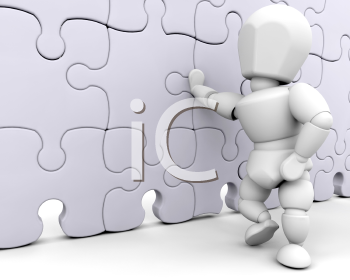 Royalty Free Clipart Image of a Person Standing at a Puzzle Wall