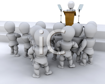 Royalty Free Clipart Image of a Speaker at a Podium