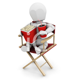 Royalty Free Clipart Image of a Person in a Director's Chair Holding Popcorn and a Pop