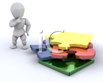 Royalty Free Clipart Image of a Person By a Stack of Puzzle Pieces