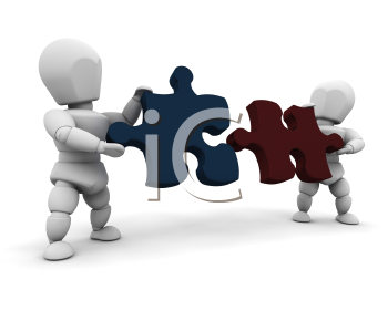 Royalty Free Clipart Image of People Connecting Puzzle Pieces