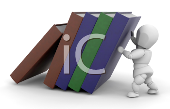 Royalty Free Clipart Image of a Person Holding Up a Stack of Books