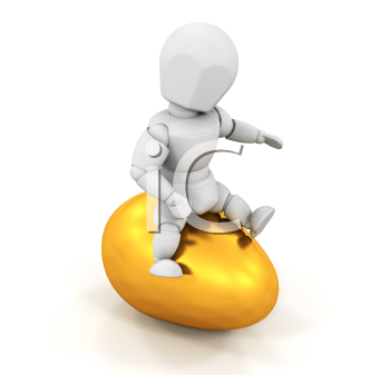 Royalty Free Clipart Image of a Person Riding a Golden Egg