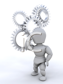 Royalty Free Clipart Image of a Person Thinking in Front of Gears