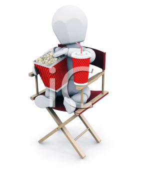 Royalty Free Clipart Image of a Person in a Director's Chair With Popcorn and Soda