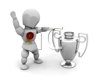 Royalty Free Clipart Image of a Person With a Trophy and Rosette