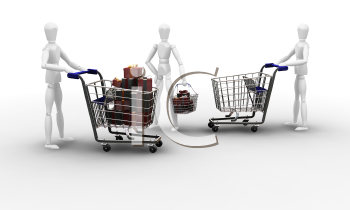 Royalty Free Clipart Image of People With Presents in Carts