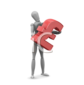 Royalty Free Clipart Image of a Man With a Pound Symbol