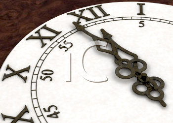 Royalty Free Clipart Image of a Clock Coming to Midnight