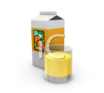 Royalty Free Clipart Image of a Carton and Glass of Orange Juice