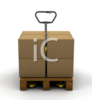 Royalty Free Clipart Image of a Skid With Boxes