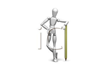 Royalty Free Clipart Image of a 3D Figure Leaning on a Pencil