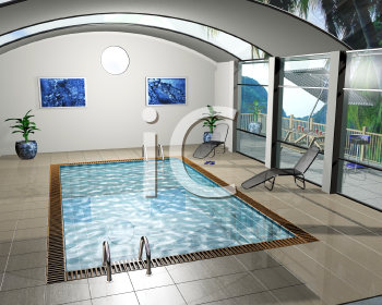 Royalty Free Clipart Image of an Indoor Pool