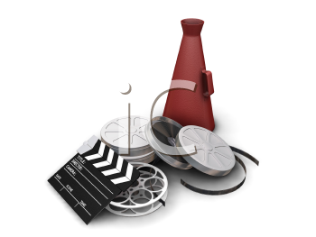 Royalty Free Clipart Image of Movie Industry Items