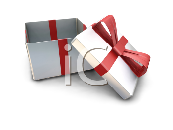 Royalty Free Clipart Image of a Gift Box With The Lid Off